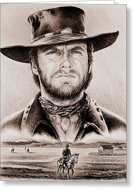 Featured Drawings Greeting Cards - Clint Eastwood The Stranger ye old west edit Greeting Card by Andrew Read