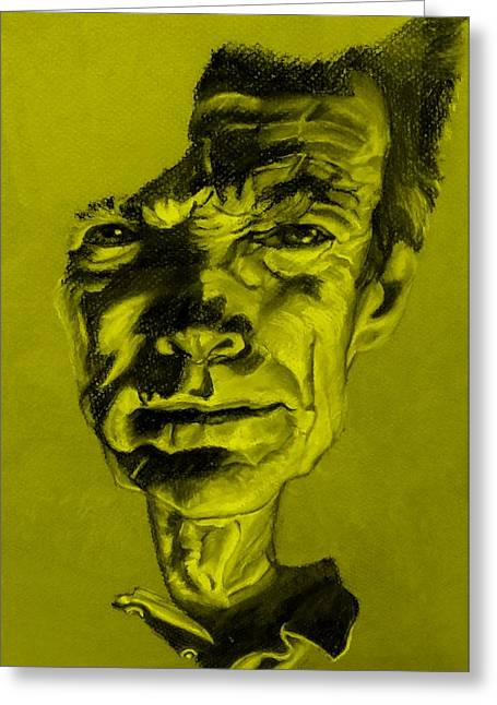 Movie Art Pastels Greeting Cards - Clint Eastwood Yellow Greeting Card by Rob Hans