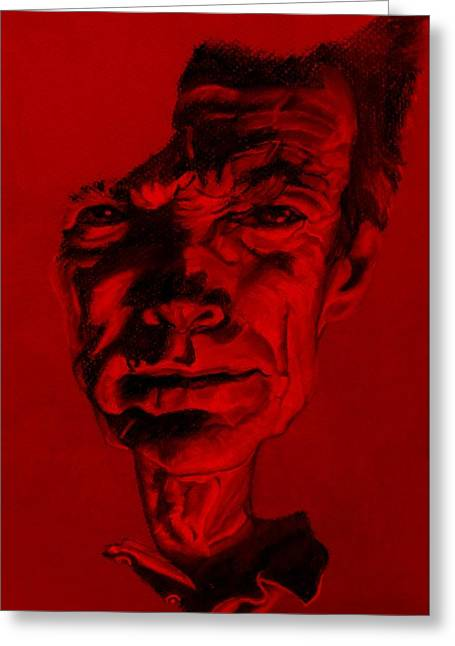 Movie Pastels Greeting Cards - Clint Eastwood Red Greeting Card by Rob Hans