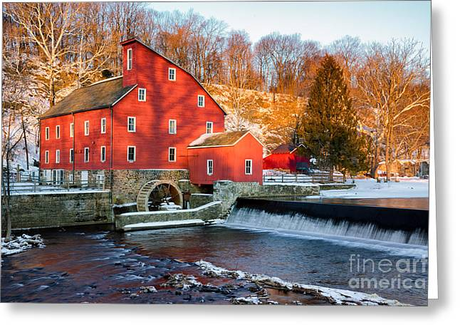 Old Mill Scenes Digital Greeting Cards - Clinton Mill in Winter Greeting Card by Jerry Fornarotto