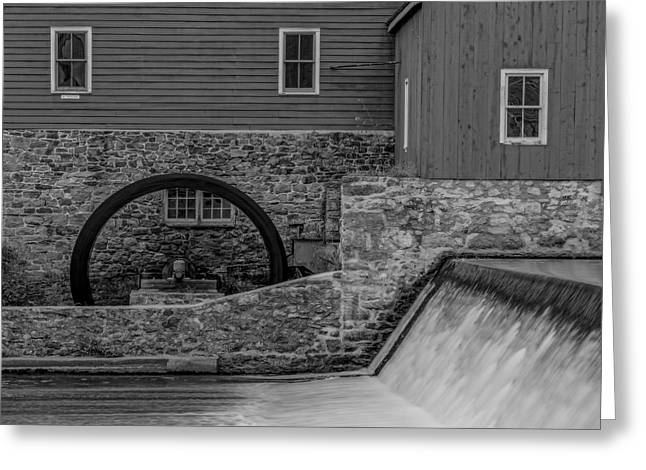 Red Mill Historic Village Greeting Cards - Clinton Red Mill BW Greeting Card by Susan Candelario