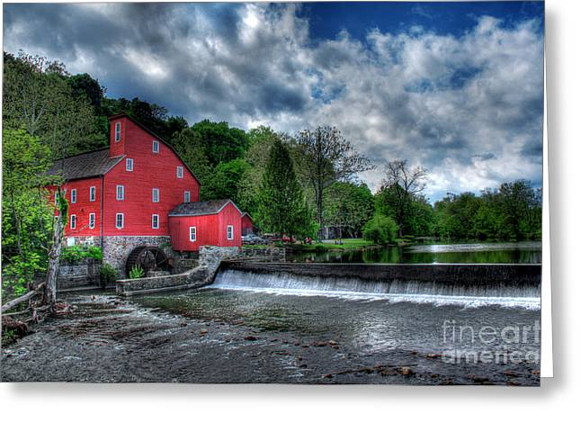 Red Fishing Shack Greeting Cards - Clinton Red Mill House Greeting Card by Lee Dos Santos
