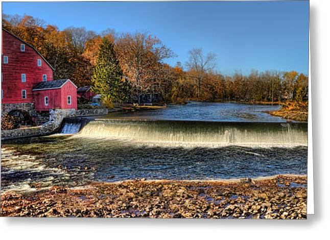 Red Fishing Shack Greeting Cards - Clinton Red Mill House Panoramic  Greeting Card by Lee Dos Santos