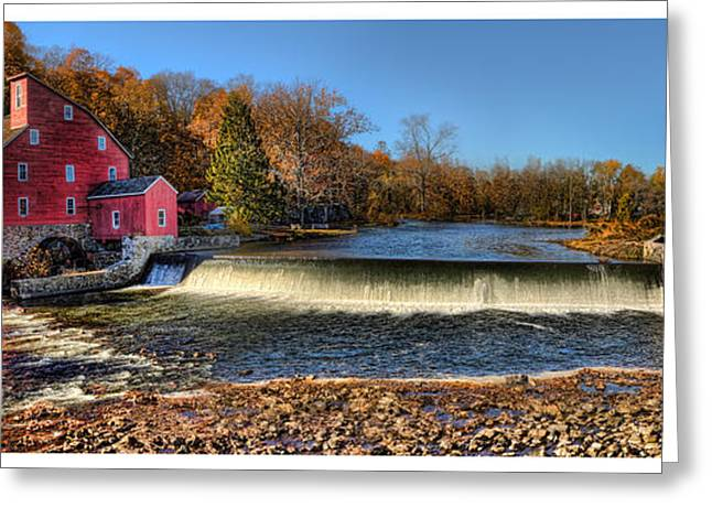 Red Fishing Shack Greeting Cards - Clinton Red Mill House White Border Panoramic  Greeting Card by Lee Dos Santos