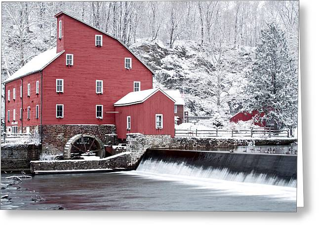 Chiara Greeting Cards - Clinton Red Mill In Snow With Geese Greeting Card by Rocco Chiara