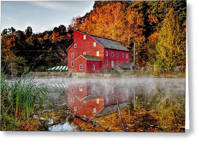 Grist Mill Greeting Cards - Clintons Historic Red Mill Greeting Card by Geraldine Scull