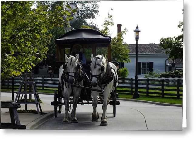 Horse And Buggy Greeting Cards - Clip Clop Greeting Card by Peggy King