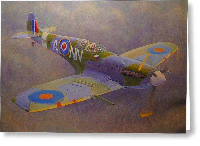Terry Perham Paintings Greeting Cards - Clip Wing Spitfire Greeting Card by Terry Perham