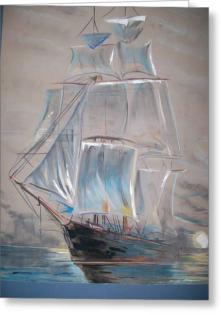 Ship Pastels Greeting Cards - Clipper In Mist Greeting Card by Peter Suhocke