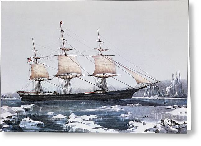 Seascape Drawings Greeting Cards - Clipper Ship Red Jacket in the ice off Cape Horn on her passage from Australia to Liverpool Greeting Card by American School