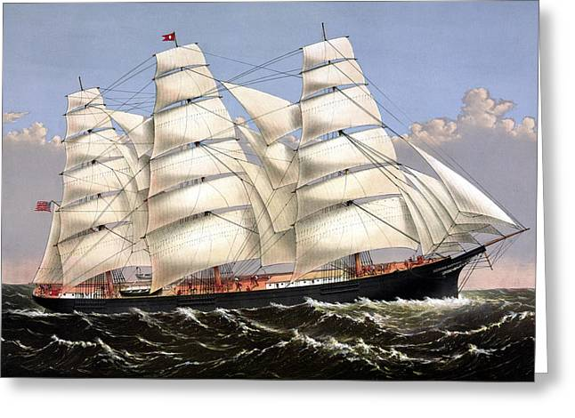 Sailing Ship Greeting Cards - Clipper Ship Three Brothers Greeting Card by War Is Hell Store