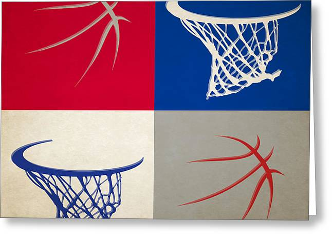 Dunk Greeting Cards - Clippers Ball And Hoop Greeting Card by Joe Hamilton