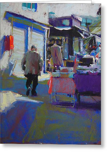 Featured Art Pastels Greeting Cards - Cliqnancourt Flea Market Greeting Card by Margaret Dyer