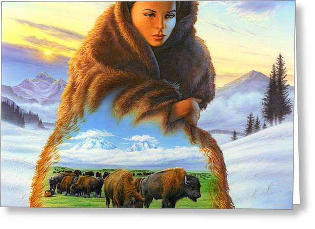 Spirits Photographs Greeting Cards - Cloak of Visions Buffalo Greeting Card by Andrew Farley