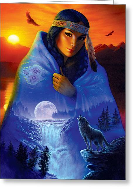 Maidens Greeting Cards - Cloak of Visions Portrait Greeting Card by Andrew Farley