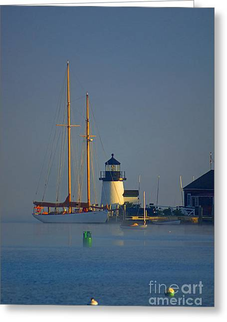 Recently Sold -  - Blue Sailboats Greeting Cards - Cloaked Greeting Card by Joe Geraci