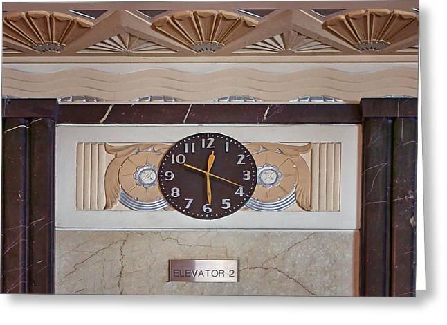 Gold Trim Greeting Cards - Clock - Art Deco - Interior Design Greeting Card by Nikolyn McDonald