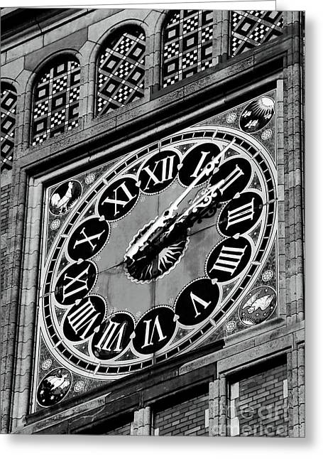 Clock Greeting Cards - Clock at Central Station Greeting Card by John Rizzuto
