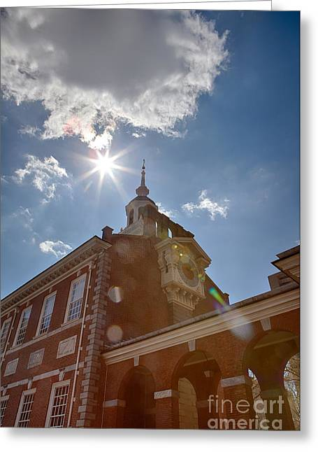 Sunflare Greeting Cards - Clock at Independence Hall Greeting Card by Kay Pickens