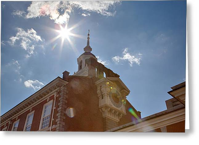 Clock at Independence Hall Greeting Card by Kay Pickens