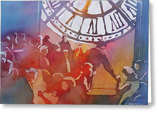 Clock Greeting Cards - Clock Cafe Greeting Card by Jenny Armitage