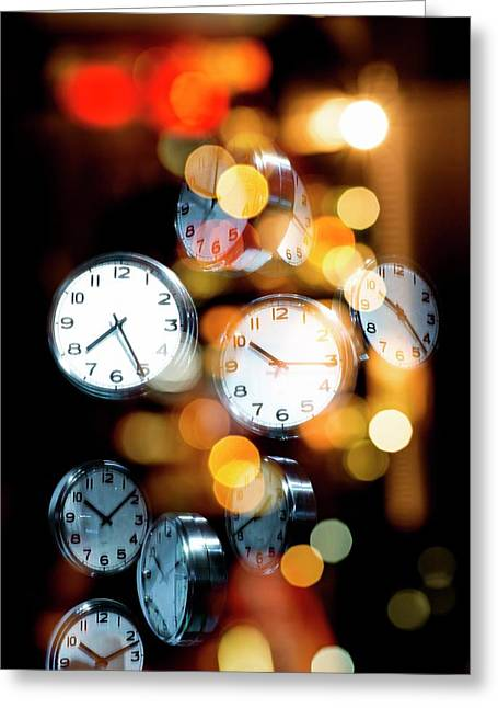 Clock Faces Greeting Card by Victor Habbick Visions