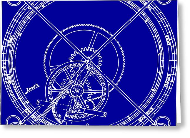 Mechanism Drawings Greeting Cards - Clock Gears Blueprint Greeting Card by