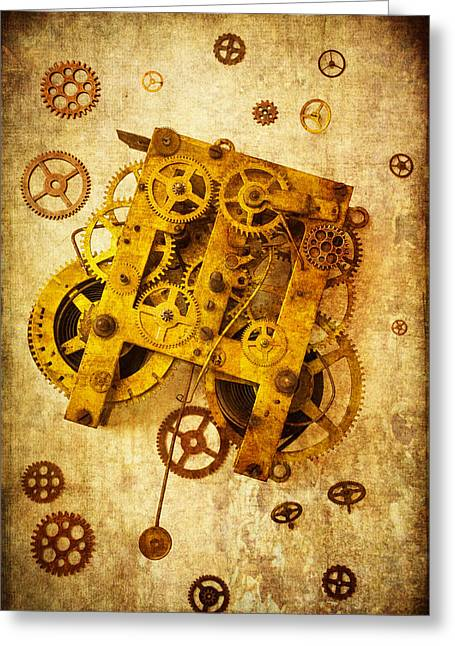 Clock Photographs Greeting Cards - Clock Gears Greeting Card by Garry Gay