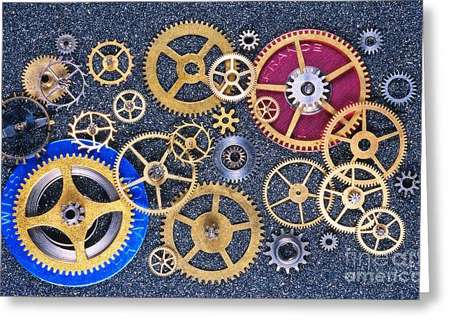Mechanism Greeting Cards - Clock Gears Greeting Card by Gregory G. Dimijian