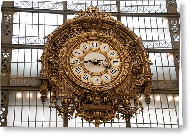 City Buildings Greeting Cards - Clock in the Musee dOrsay. Paris. France Greeting Card by Bernard Jaubert