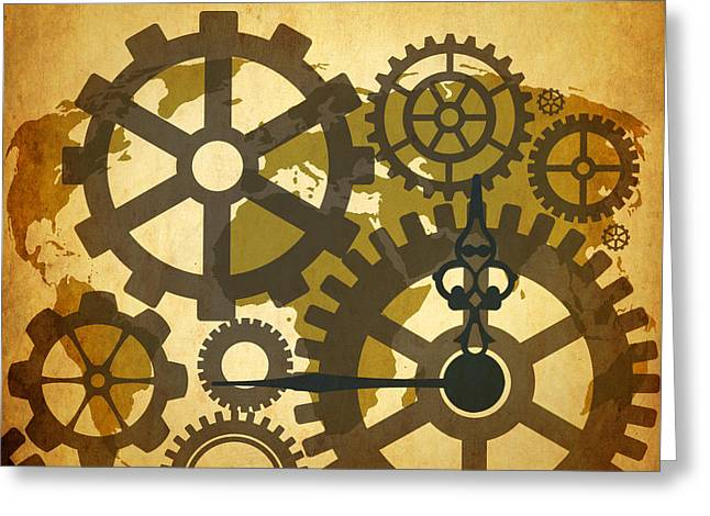 Abstract Time Greeting Cards - Clock Map  Greeting Card by Mark Ashkenazi