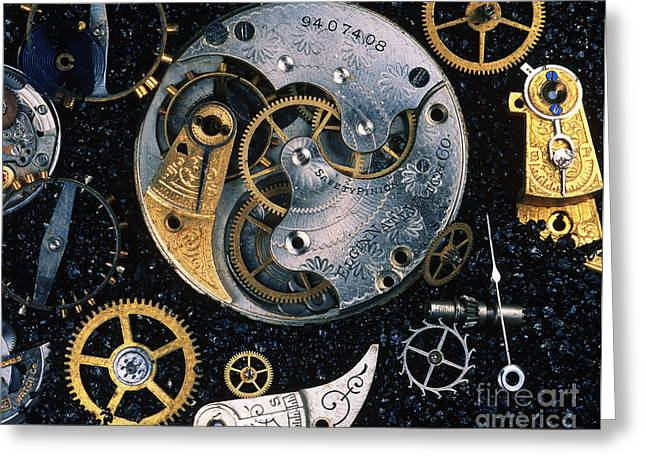 Mechanism Photographs Greeting Cards - Clock Parts Greeting Card by Gregory G. Dimijian