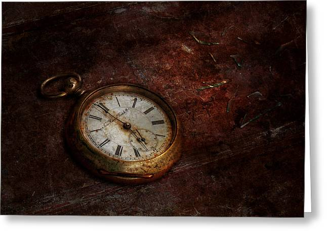 Clock - Time waits Greeting Card by Mike Savad