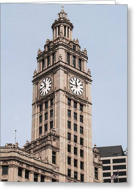 Magnificent Mile Greeting Cards - Clock Tower Greeting Card by Arlene Carmel