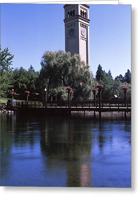 Clock Tower At Riverfront Park Greeting Card by Panoramic Images