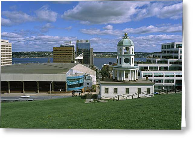 Halifax Greeting Cards - Clock Tower In A City, Halifax, Nova Greeting Card by Panoramic Images