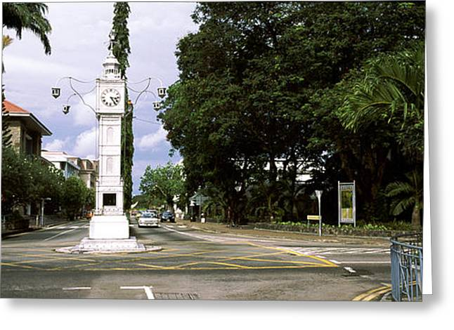 Victoria Day Greeting Cards - Clock Tower In A City, Victoria, Mahe Greeting Card by Panoramic Images