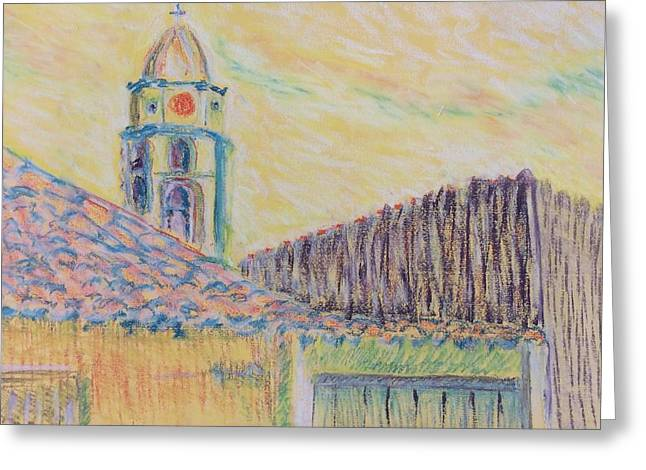 Post Impressionist Pastels Greeting Cards - Clock Tower in Havana Cuba Greeting Card by Cristel Mol-Dellepoort