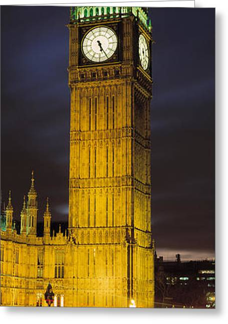Night Scenes Greeting Cards - Clock Tower Lit Up At Night, Big Ben Greeting Card by Panoramic Images