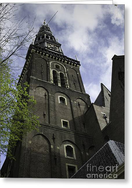 Weathervane Photographs Greeting Cards - Clock Tower Oude Kerk Amsterdam Greeting Card by Teresa Mucha