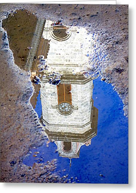 Popular Beliefs Greeting Cards - Clock Tower Reflected Greeting Card by Valentino Visentini