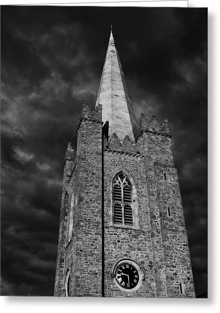 Medieval Temple Greeting Cards - Clock tower - St. Patricks Cathedral - Dublin Greeting Card by Photography  By Sai