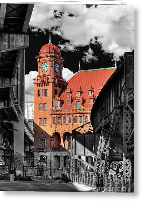 Main Street Greeting Cards - Clock Tower Greeting Card by Tim Wilson