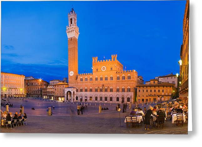 Clock Tower With A Palace In A City Greeting Card by Panoramic Images