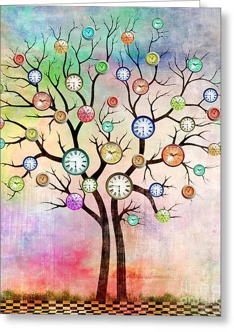 Clock Tree  Greeting Card by Mark Ashkenazi