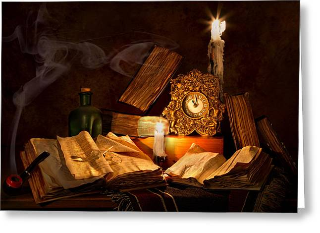 Candle Lit Greeting Cards - Clock Wine Bottles and Books Greeting Card by Mary Tomaino