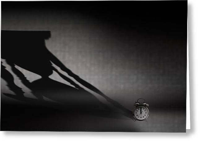 Old Photography Greeting Cards - Clock With Hourglass Shadow Greeting Card by Panoramic Images
