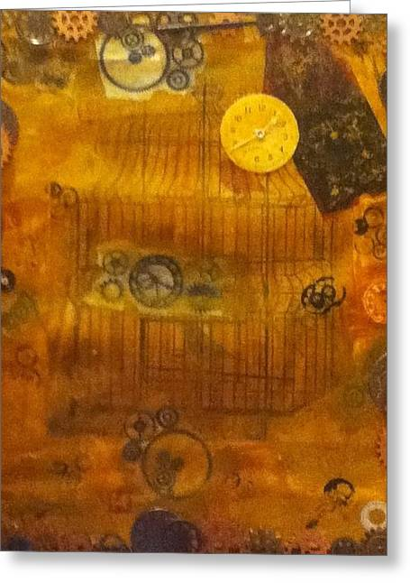 Cog Mixed Media Greeting Cards - Clock Work Greeting Card by Angelica Bentley