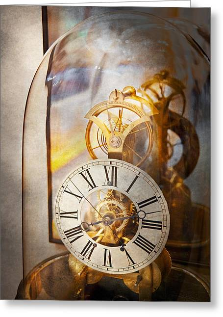 Mechanism Photographs Greeting Cards - Clockmaker - A look back in time Greeting Card by Mike Savad