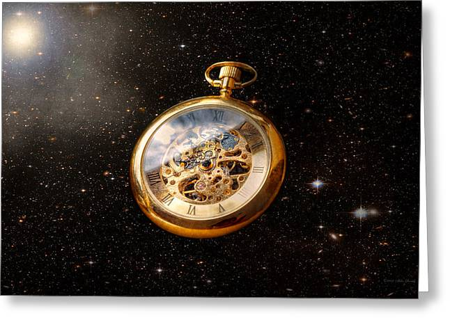 Clocksmith Greeting Cards - Clockmaker - Space time Greeting Card by Mike Savad